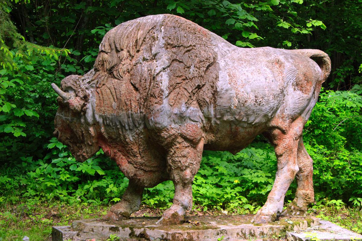 Статуя зубра в Совейках до исчезновения. Фото: kurjer.info