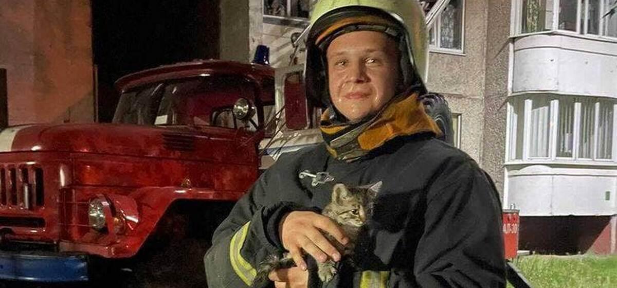 Как сотрудники МЧС спасали котенка в Барановичах. Видео