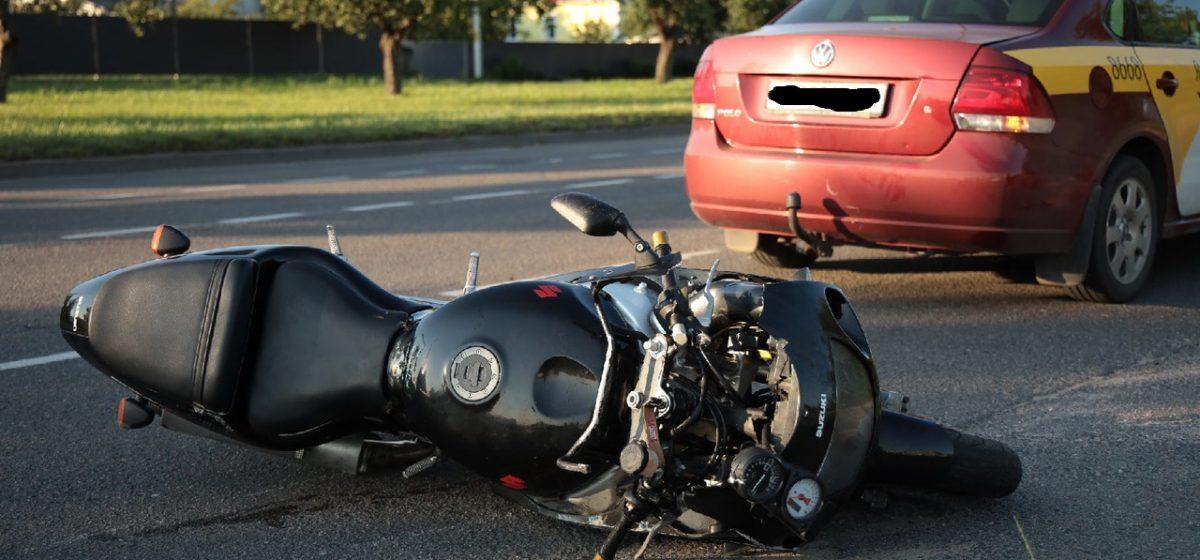 Такси и мотоцикл столкнулись в Барановичах