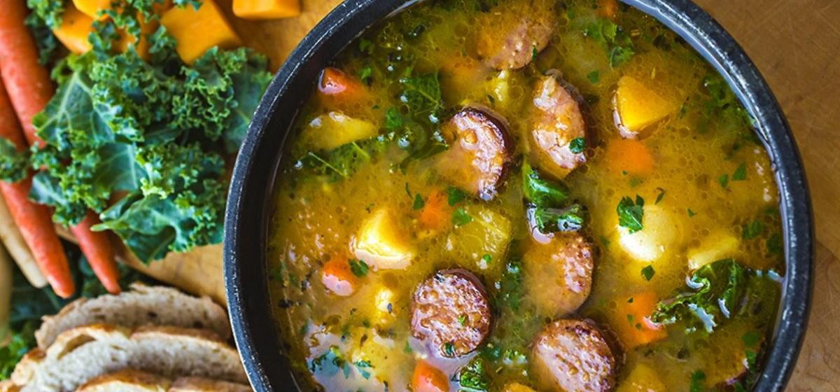 Вкусно и просто. Овощное рагу с копченой колбасой