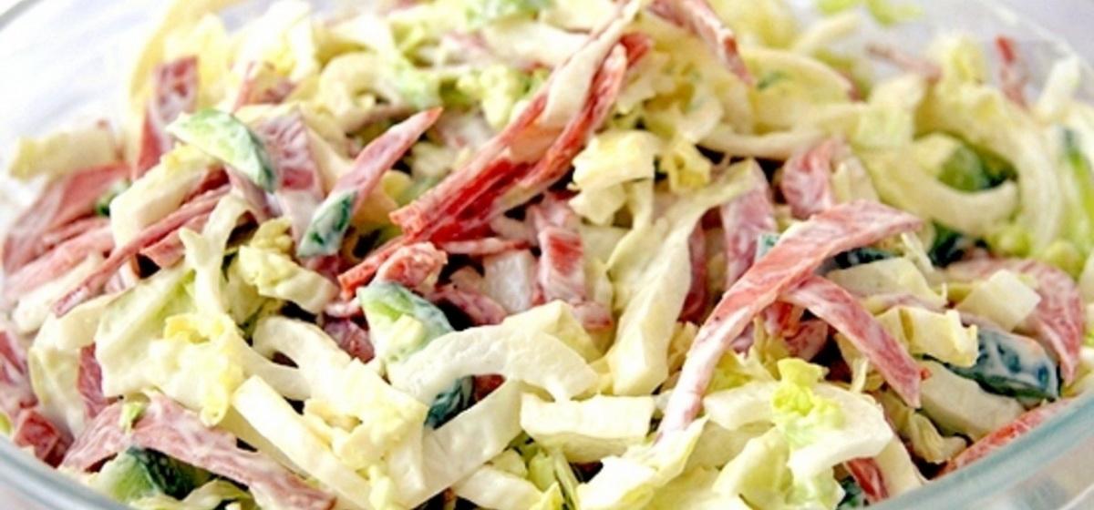 Как приготовить салат с пекинской капустой и копченой курицей. Видео